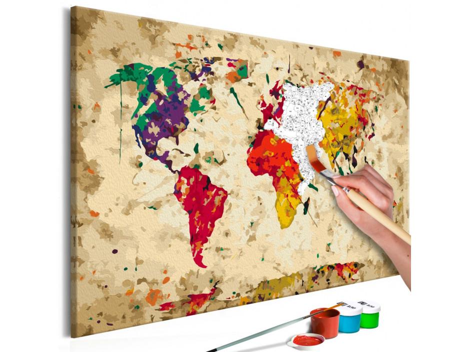 Tableau à peindre par soi-même - Carte du monde (taches colorée)