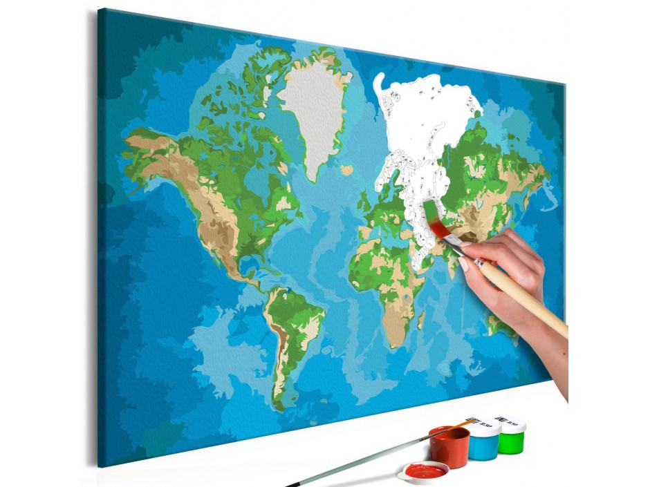 Tableau à peindre par soi-même - Carte du monde (bleue-verte)