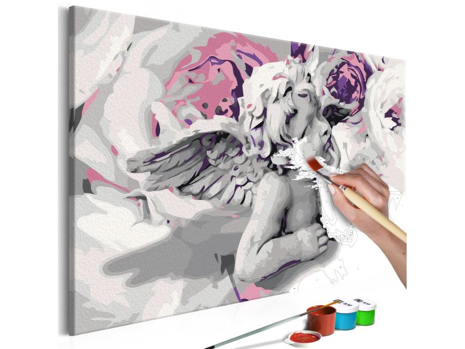 Tableau à peindre par soi-même - Ange (fleurs au fond)