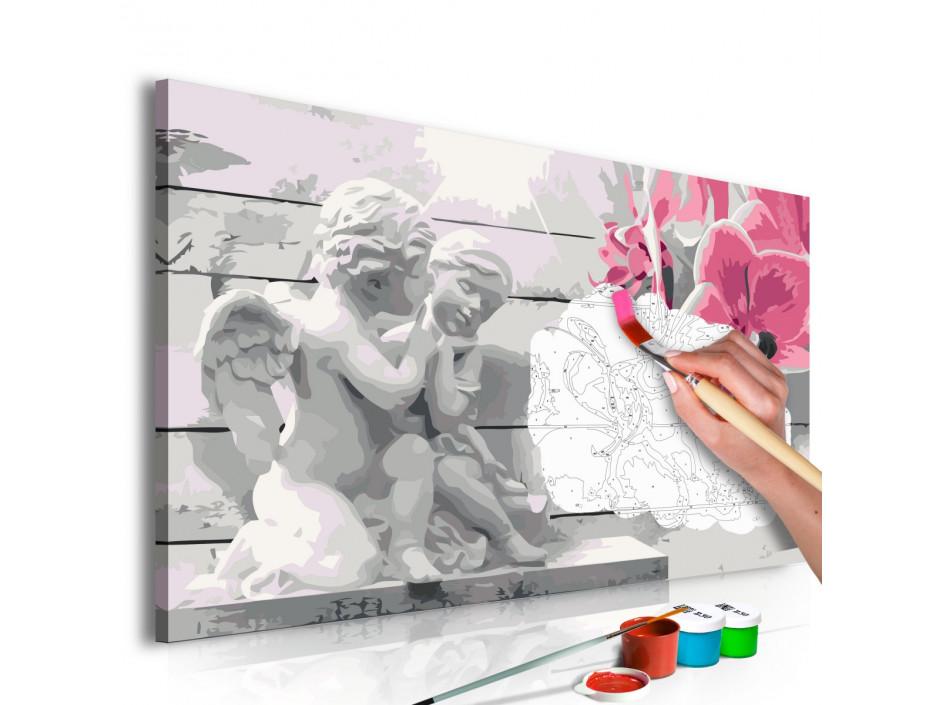 Tableau à peindre par soi-même - Anges (orchidée rose)