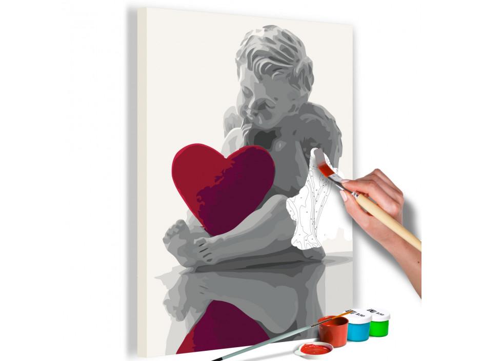 Tableau à peindre par soimême  Ange (coeur rouge)