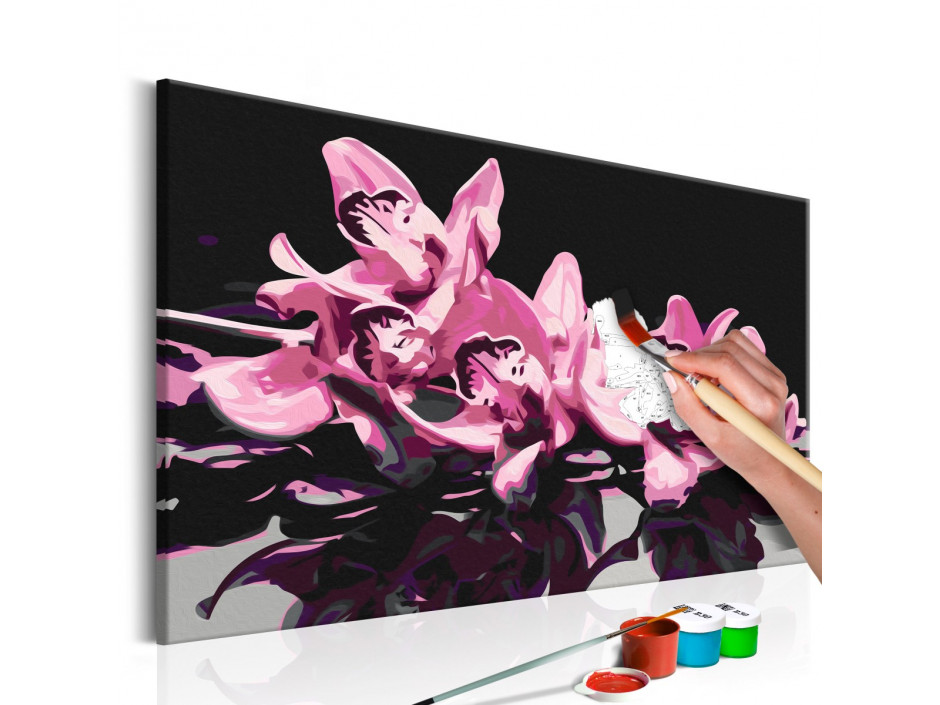 Tableau à peindre par soimême  Orchidée rose (fond noir)