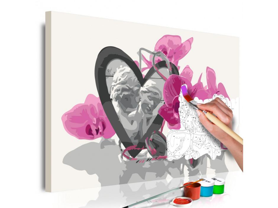 Tableau à peindre par soimême  Anges (coeur et orchidée rose)