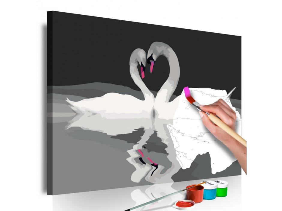 Tableau à peindre par soimême  Couple de cygnes