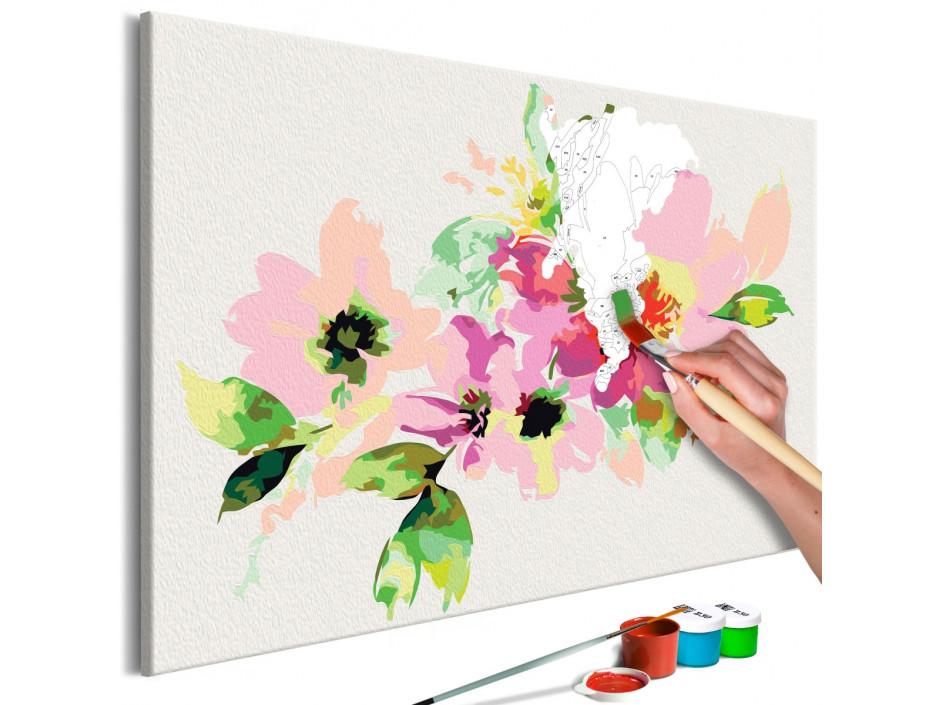 Tableau à peindre par soimême  Fleurs colorées