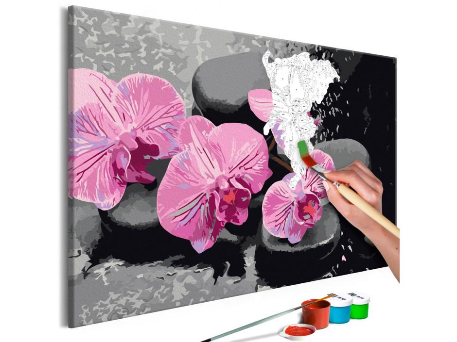 Tableau à peindre par soimême  Orchidée et pierres zen (fond noir)
