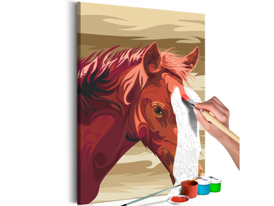 Tableau à peindre par soimême  Cheval bai