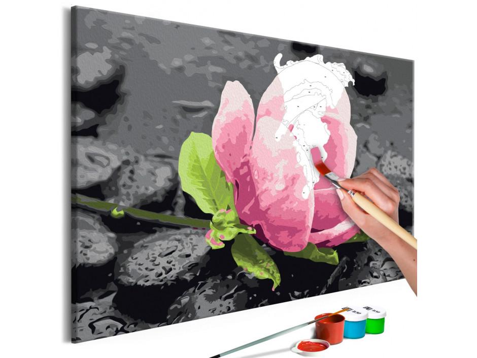 Tableau à peindre par soi-même - Pink Flower and Stones