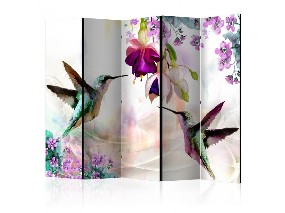 Paravent 5 volets Hummingbirds and Flowers II [Room Dividers]