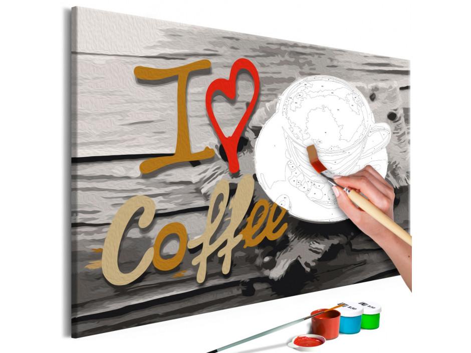 Tableau à peindre par soimême  I Love Coffee