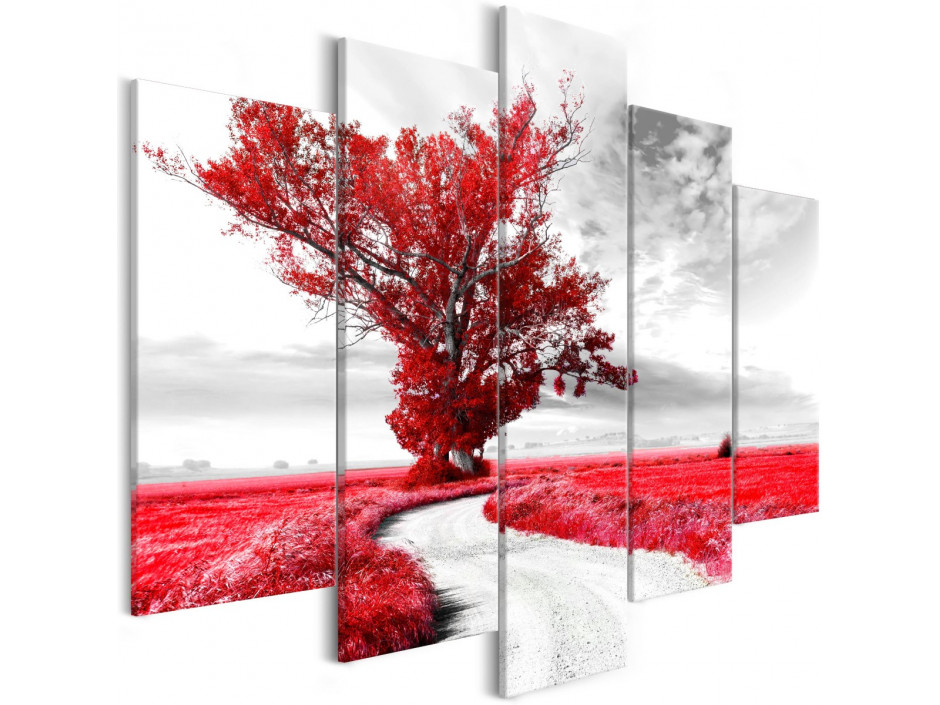 Tableau - Tree near the Road (5 Parts) Red