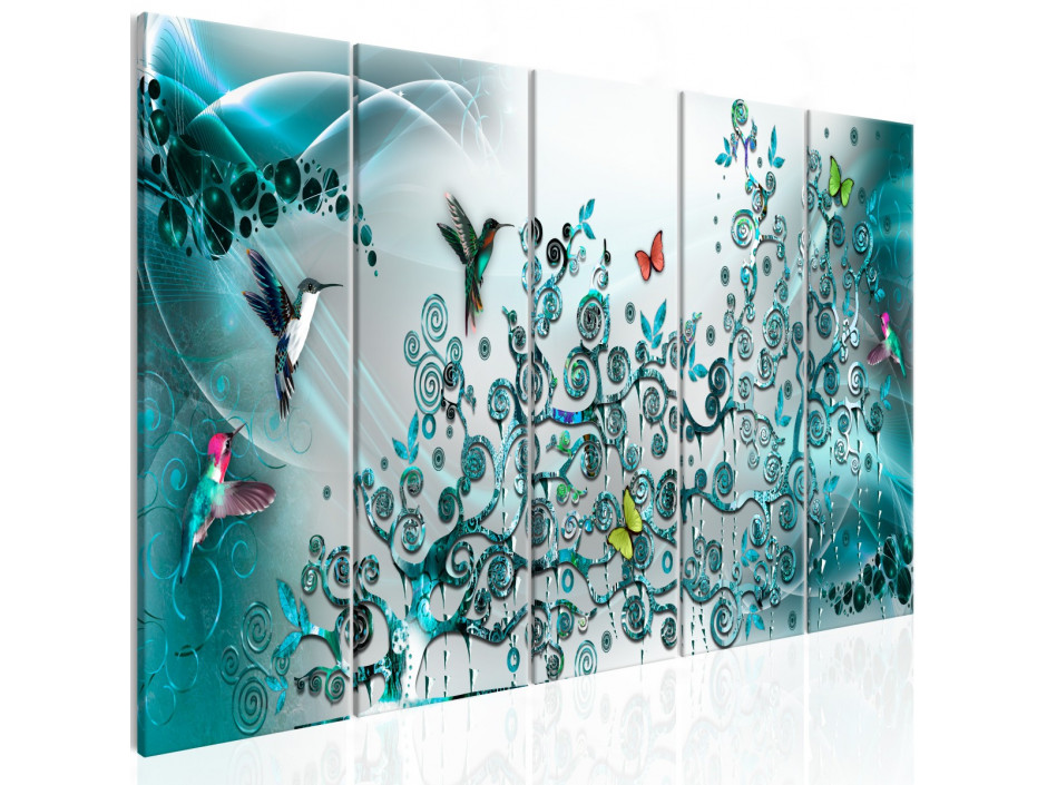 Tableau - Hummingbirds Dance (5 Parts) Turquoise Narrow