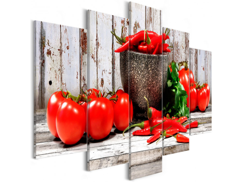 Tableau - Red Vegetables (5 Parts) Wood Wide