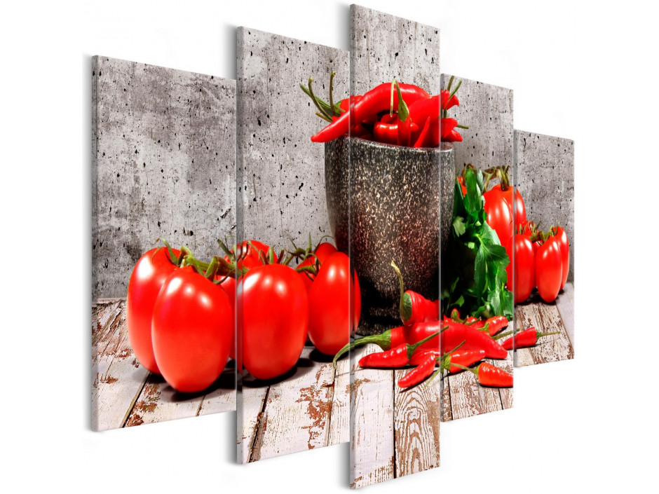 Tableau - Red Vegetables (5 Parts) Concrete Wide