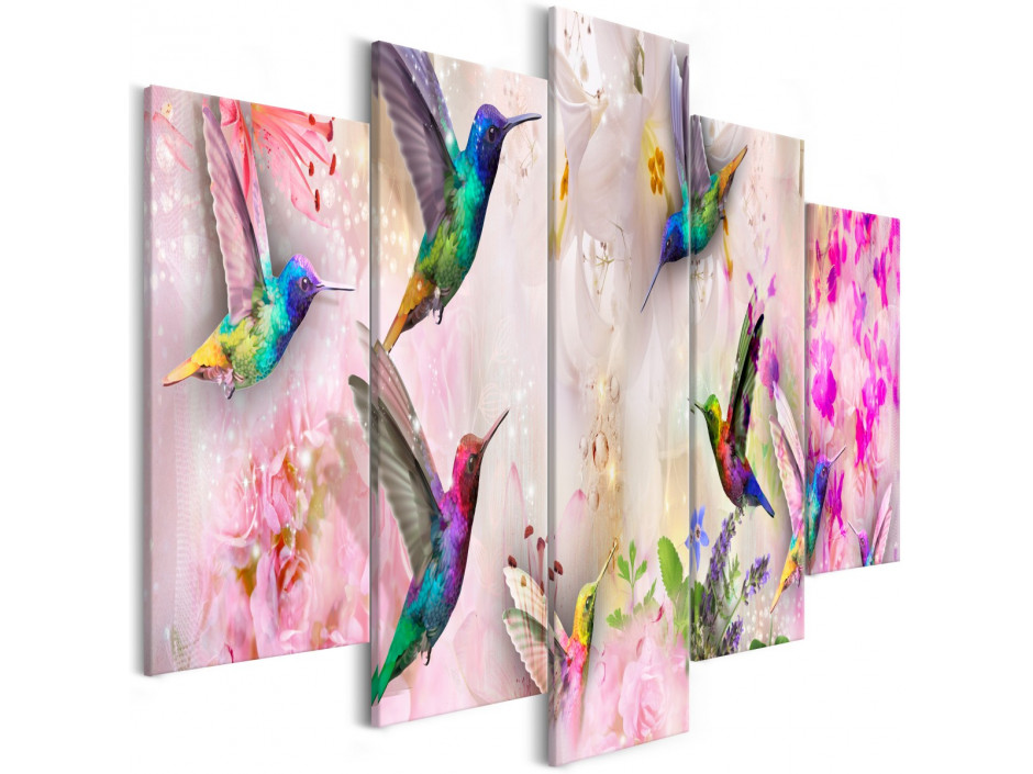 Tableau - Colourful Hummingbirds (5 Parts) Wide Pink