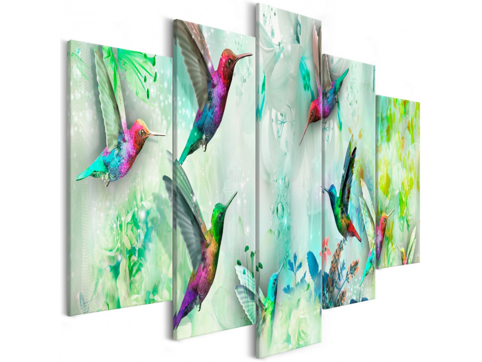 Tableau - Colourful Hummingbirds (5 Parts) Wide Green