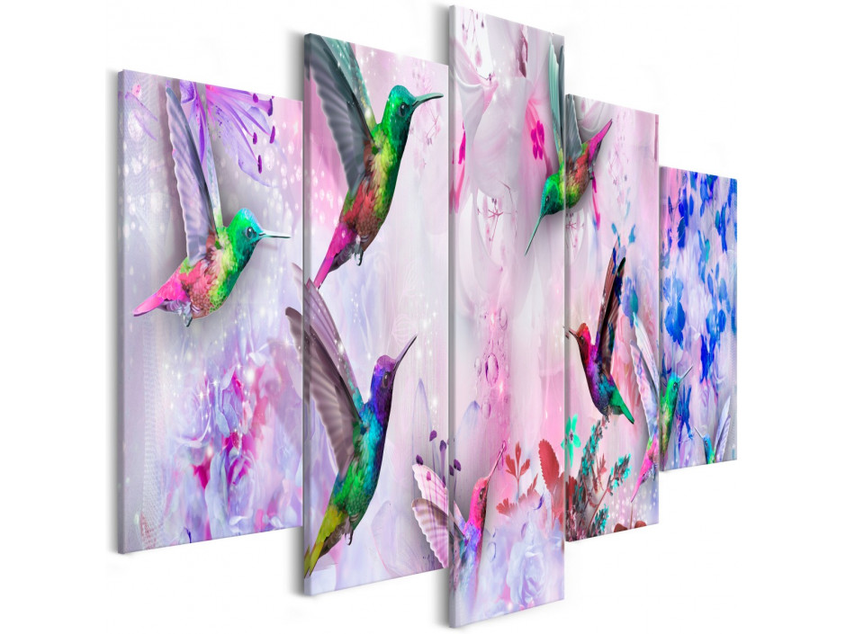 Tableau - Colourful Hummingbirds (5 Parts) Wide Violet