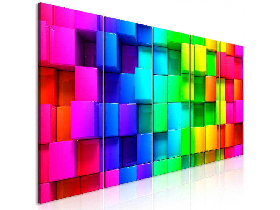 Tableau - Colourful Cubes (5 Parts) Narrow