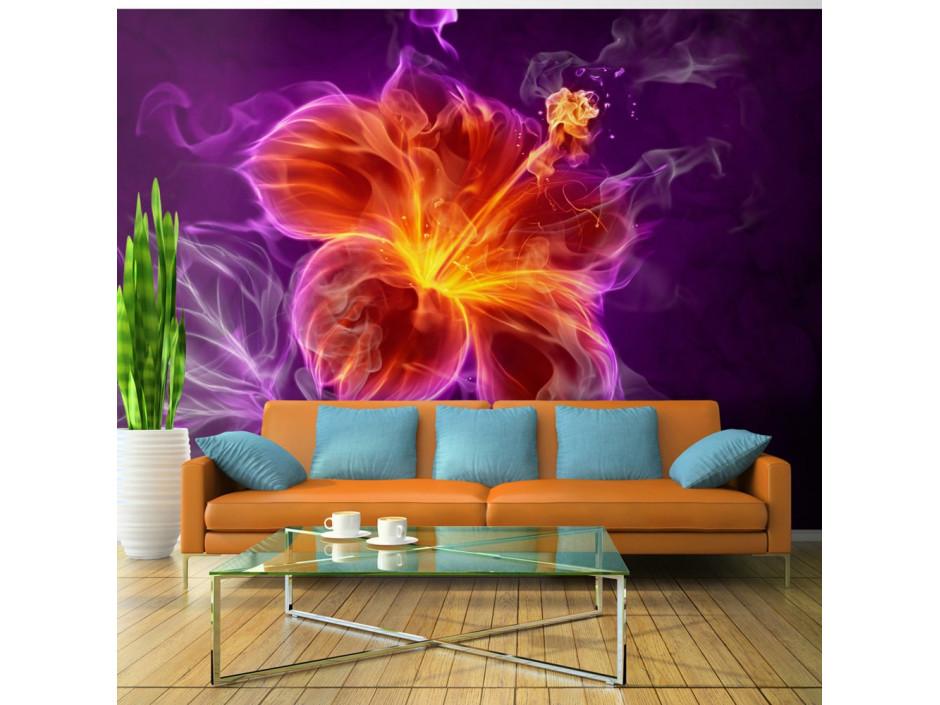 Papier peint  Fiery flower in purple