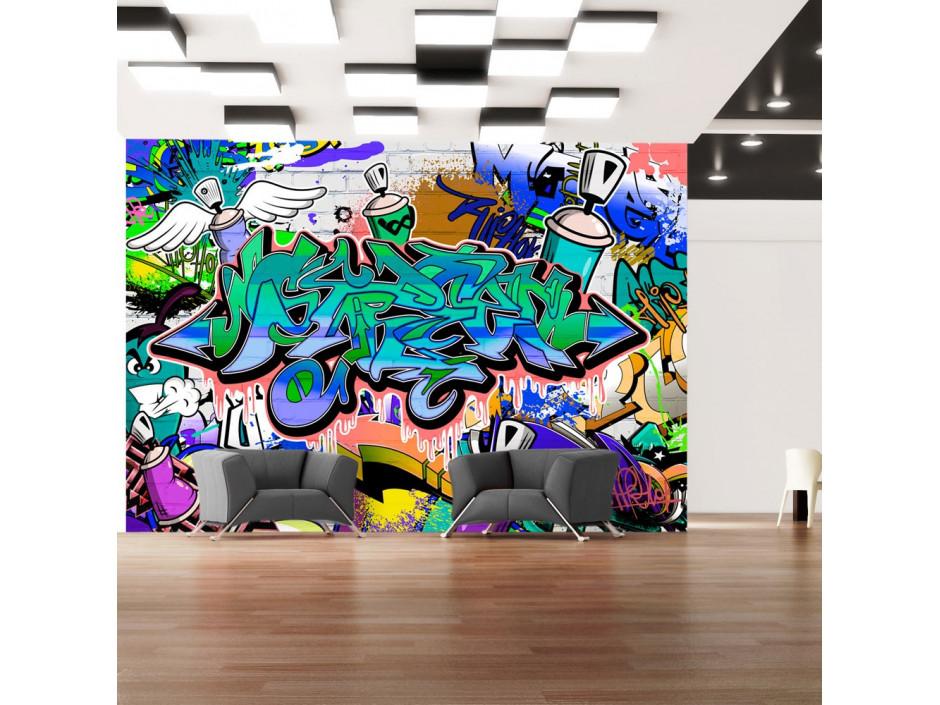 Papier peint  Graffiti motif bleu