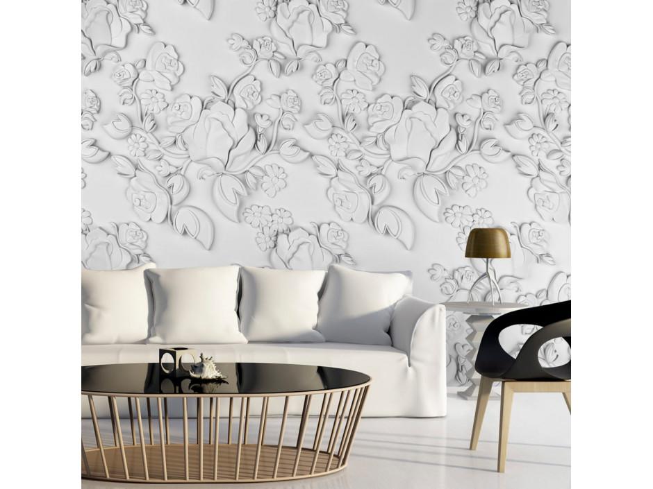 Papier peint  White ornament roses