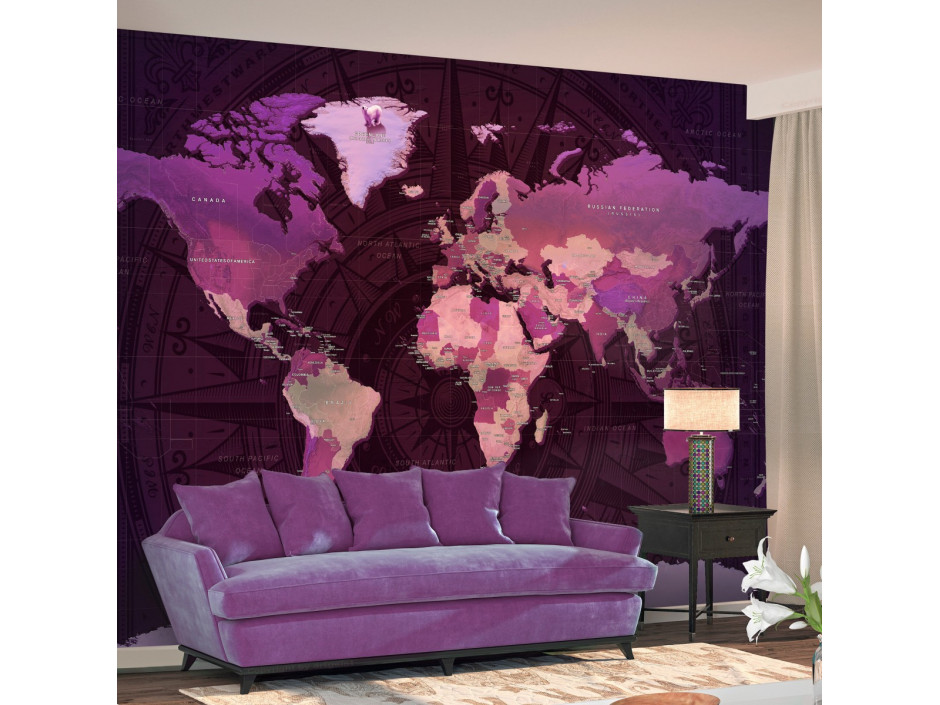 Papier peint  Purple World Map