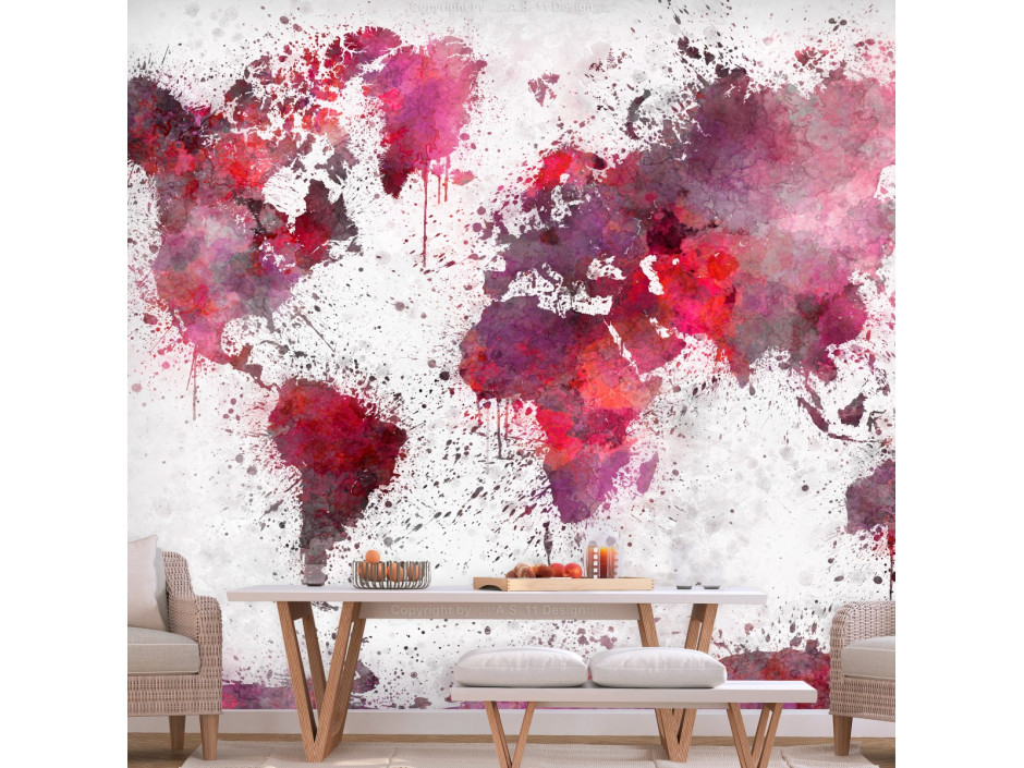 Papier peint  World Map Red Watercolors