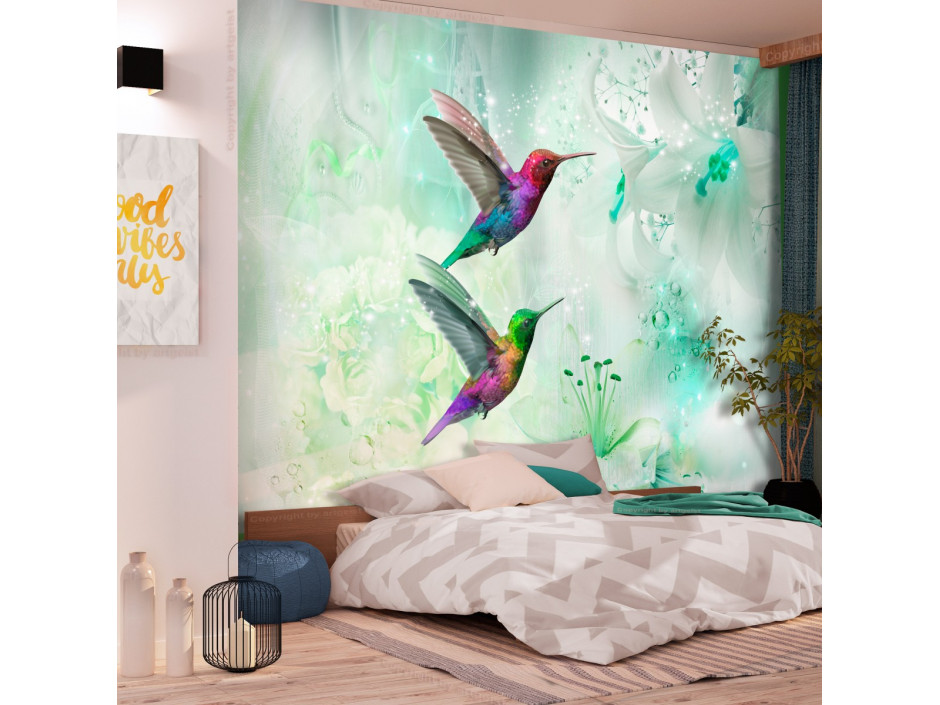 Papier peint  Colourful Hummingbirds (Green)