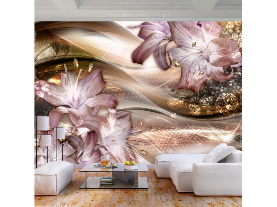 Papier peint  Lilies on the Wave (Brown)