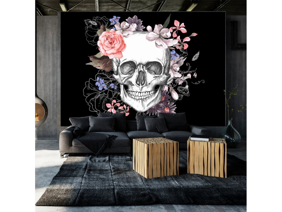 Papier peint  Skull and Flowers