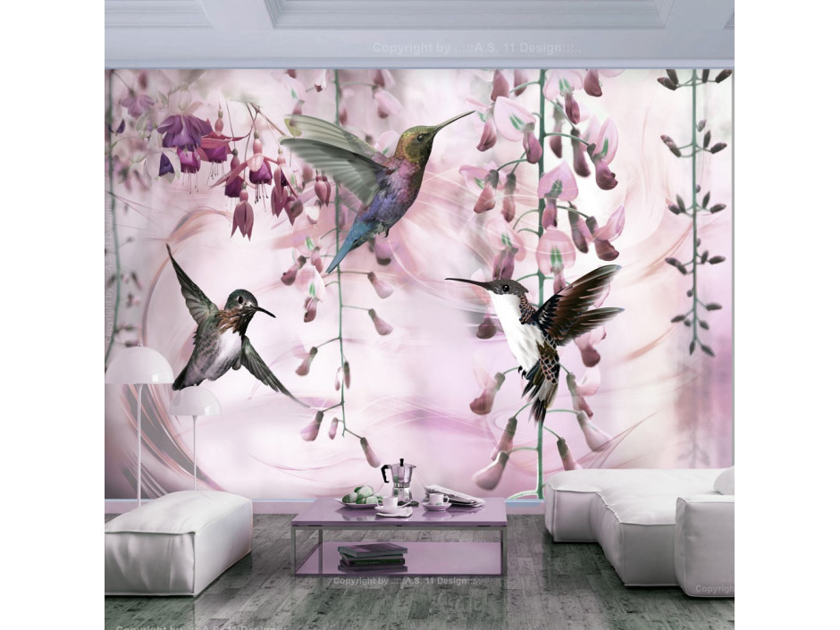 Papier peint  Flying Hummingbirds (Pink)