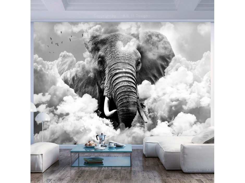Papier peint  Elephant in the Clouds (Black and White)