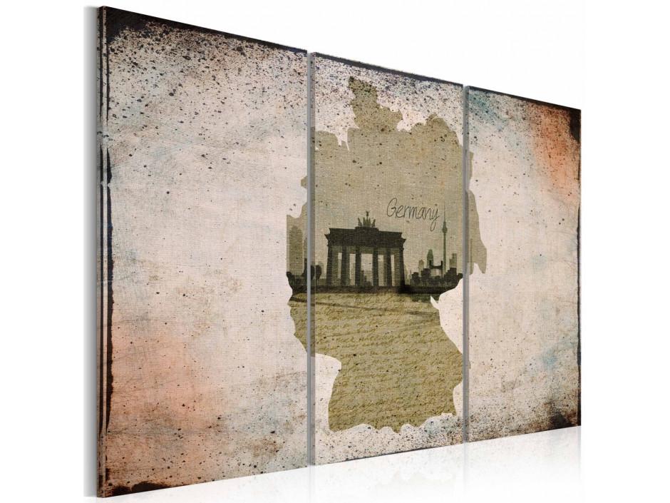 Tableau  map Germany, Brandenburg Gate  carte