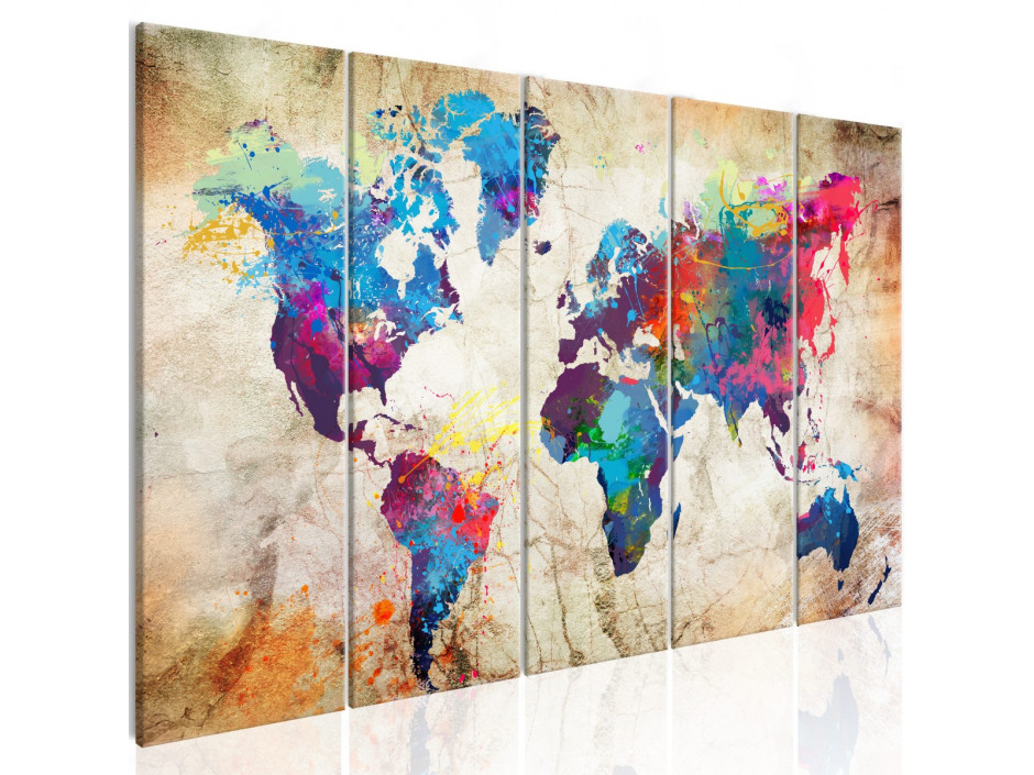 Tableau  World Map Colourful Ink Blots