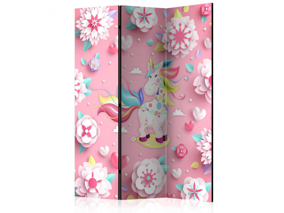 Paravent 3 volets Unicorn on Flowerbed [Room Dividers]