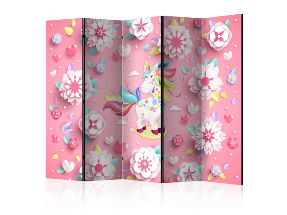Paravent 5 volets Unicorn on Flowerbed II [Room Dividers]