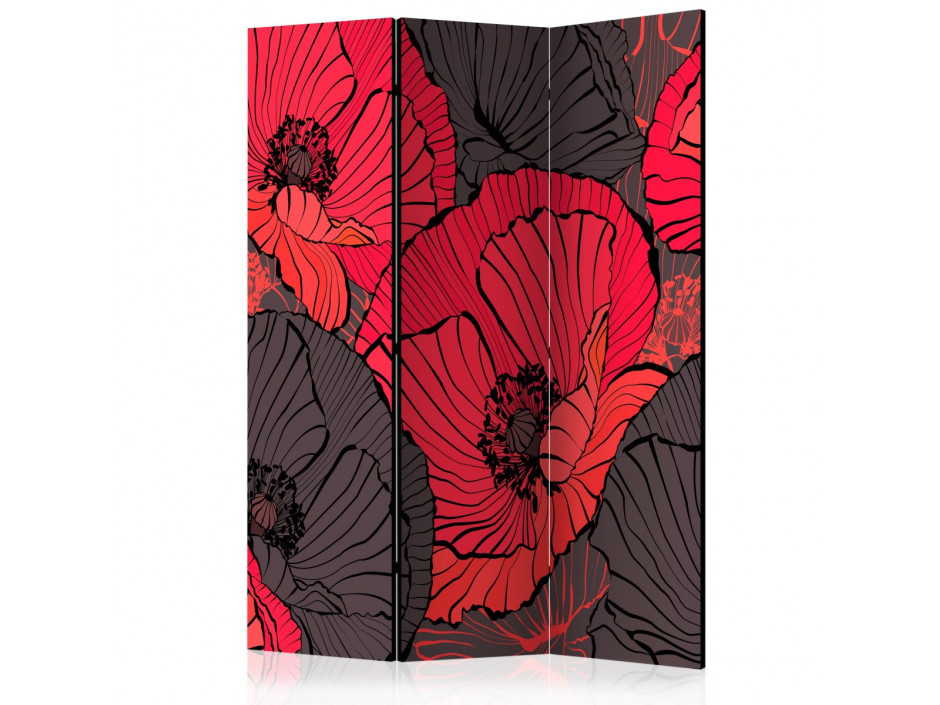 Paravent 3 volets  Pleated poppies [Room Dividers]