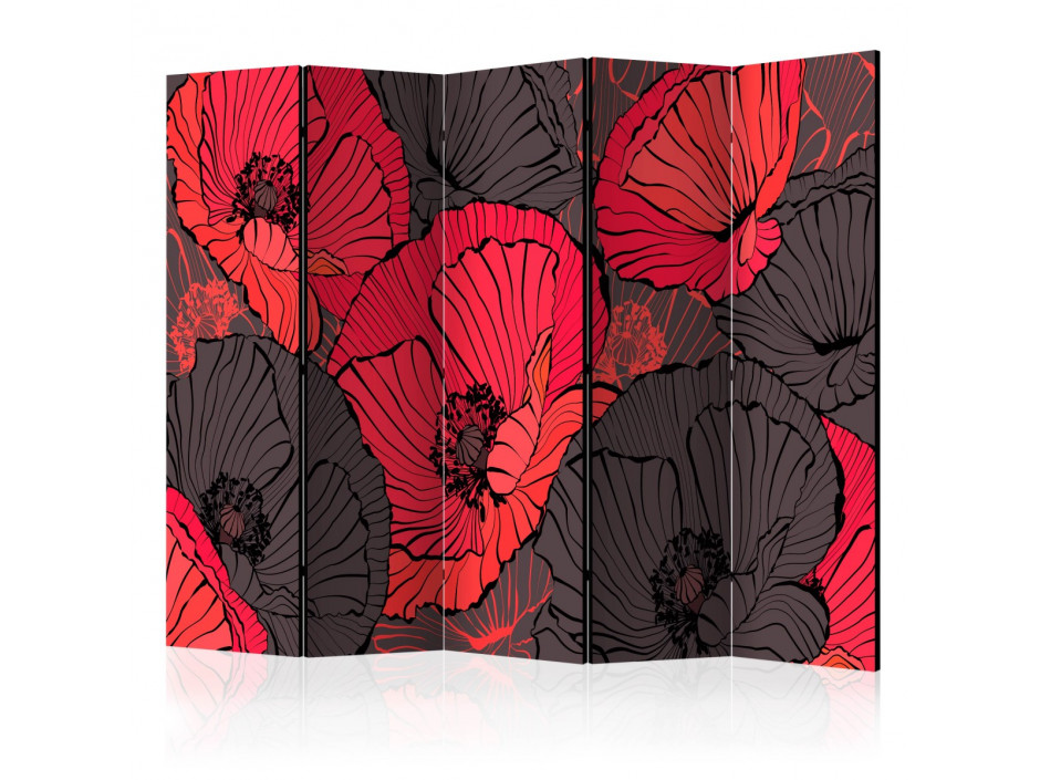 Paravent 5 volets  Pleated poppies [Room Dividers]