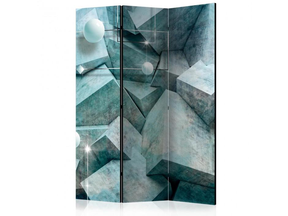 Paravent 3 volets  Concrete Cubes (Green) [Room Dividers]