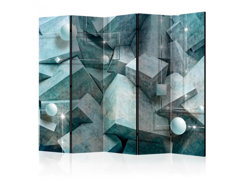 Paravent 5 volets  Concrete Cubes (Green) [Room Dividers]