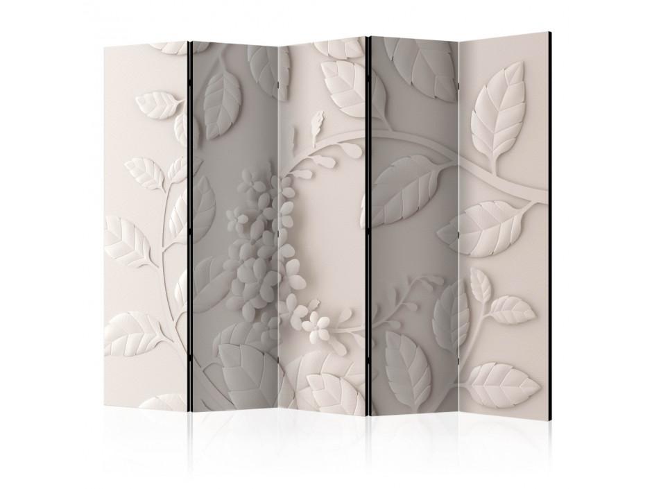 Paravent 5 volets  Paper Flowers (Cream) [Room Dividers]