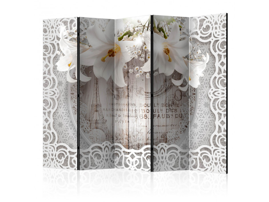 Paravent 5 volets  Lilies and Quilted Background [Room Dividers]