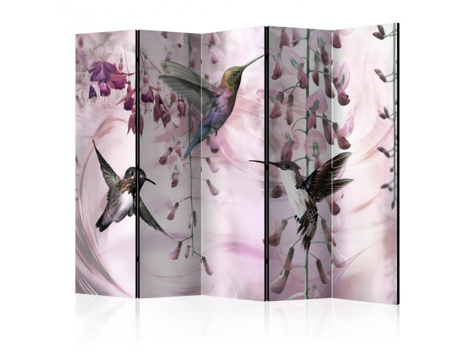 Paravent 5 volets  Flying Hummingbirds (Pink) [Room Dividers]