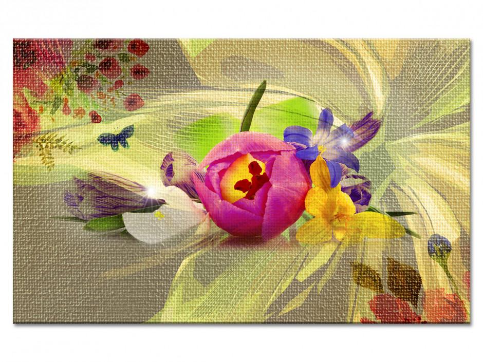 Tableau toile fleurs déco CHAMPÊTRE