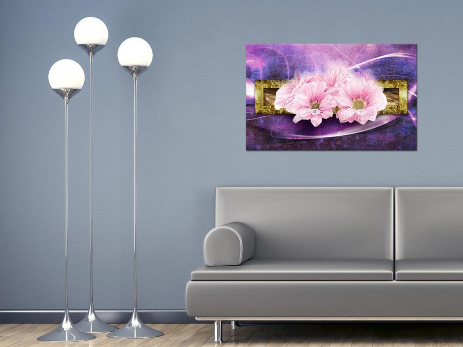 Tableau toile fleurs MARGUERITES ROSES