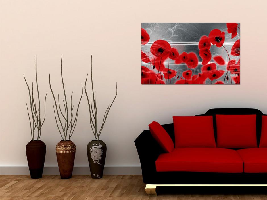 Tableau toile fleurs déco COQUELICOTS ROUGES