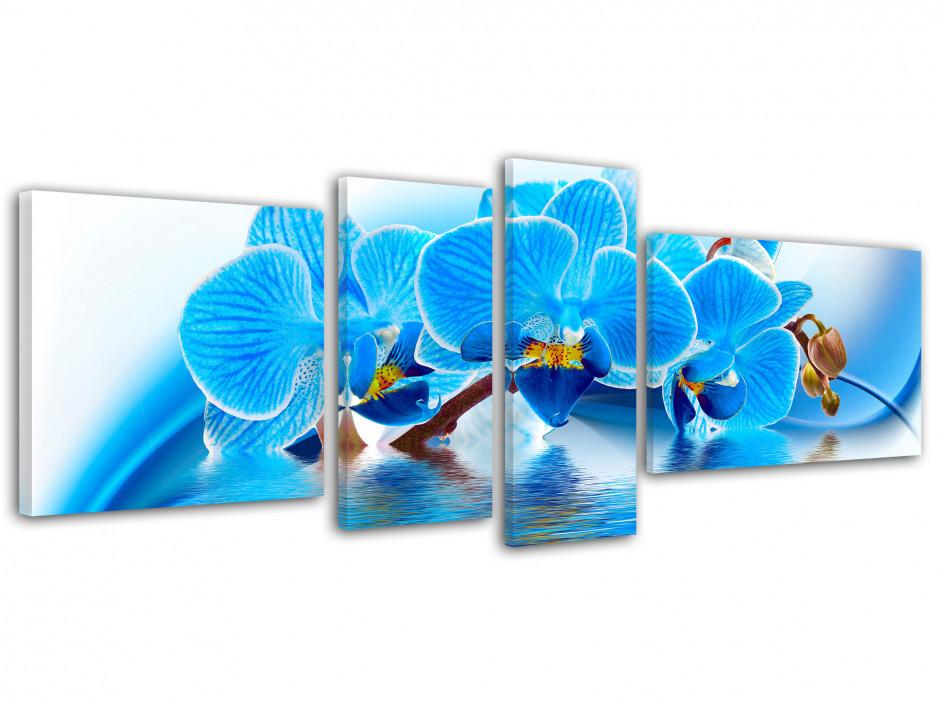 Tableau toile fleurs ORCHIDÉES BLEUES