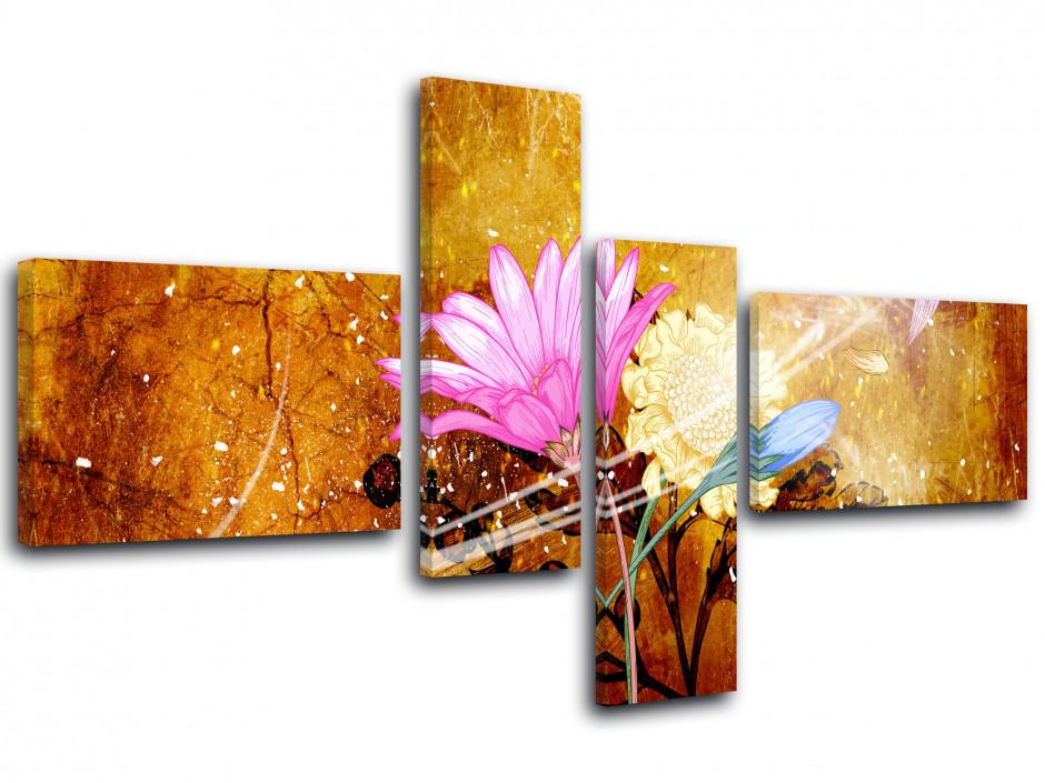 Tableau décoration fleurs en 4 panneaux