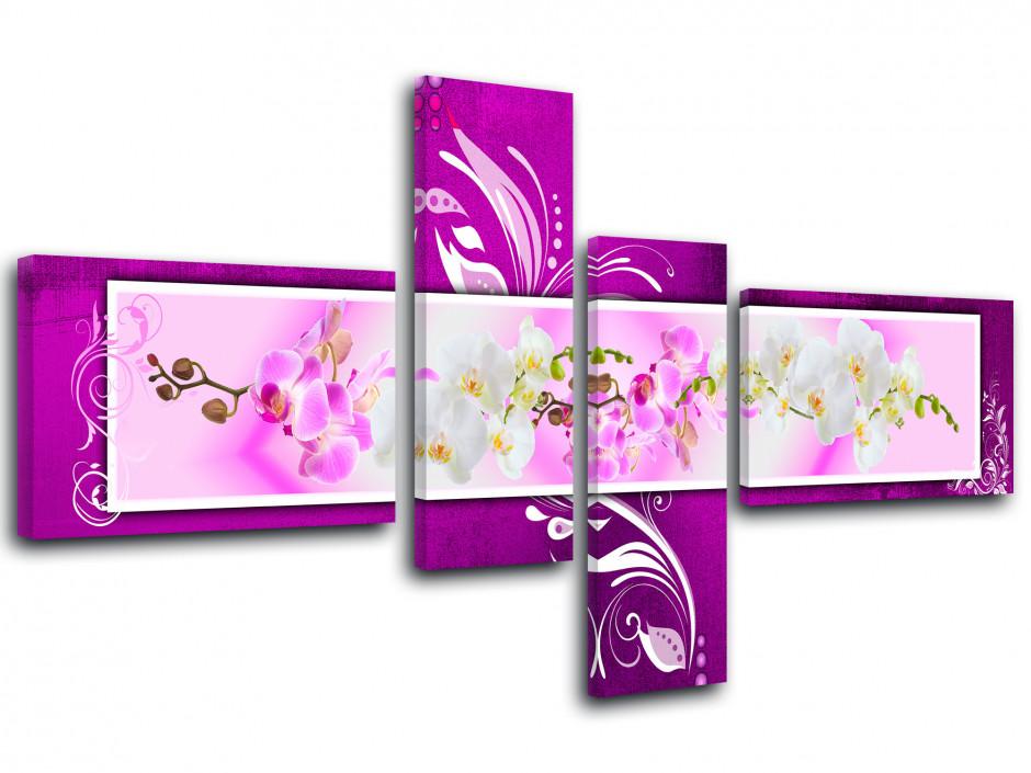 Tableau original fleurs orchidée en 4 panneaux