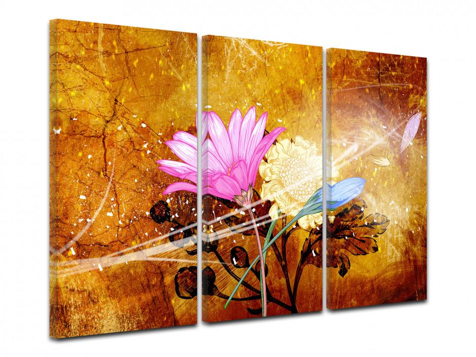 Tableau triptyque moderne design Fleurs